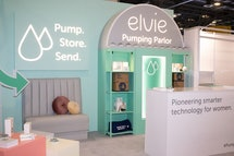 Elvie's exhibit at CES 2020 features a pumping area with a relaxing nursing lounge where moms can comfortably pump.