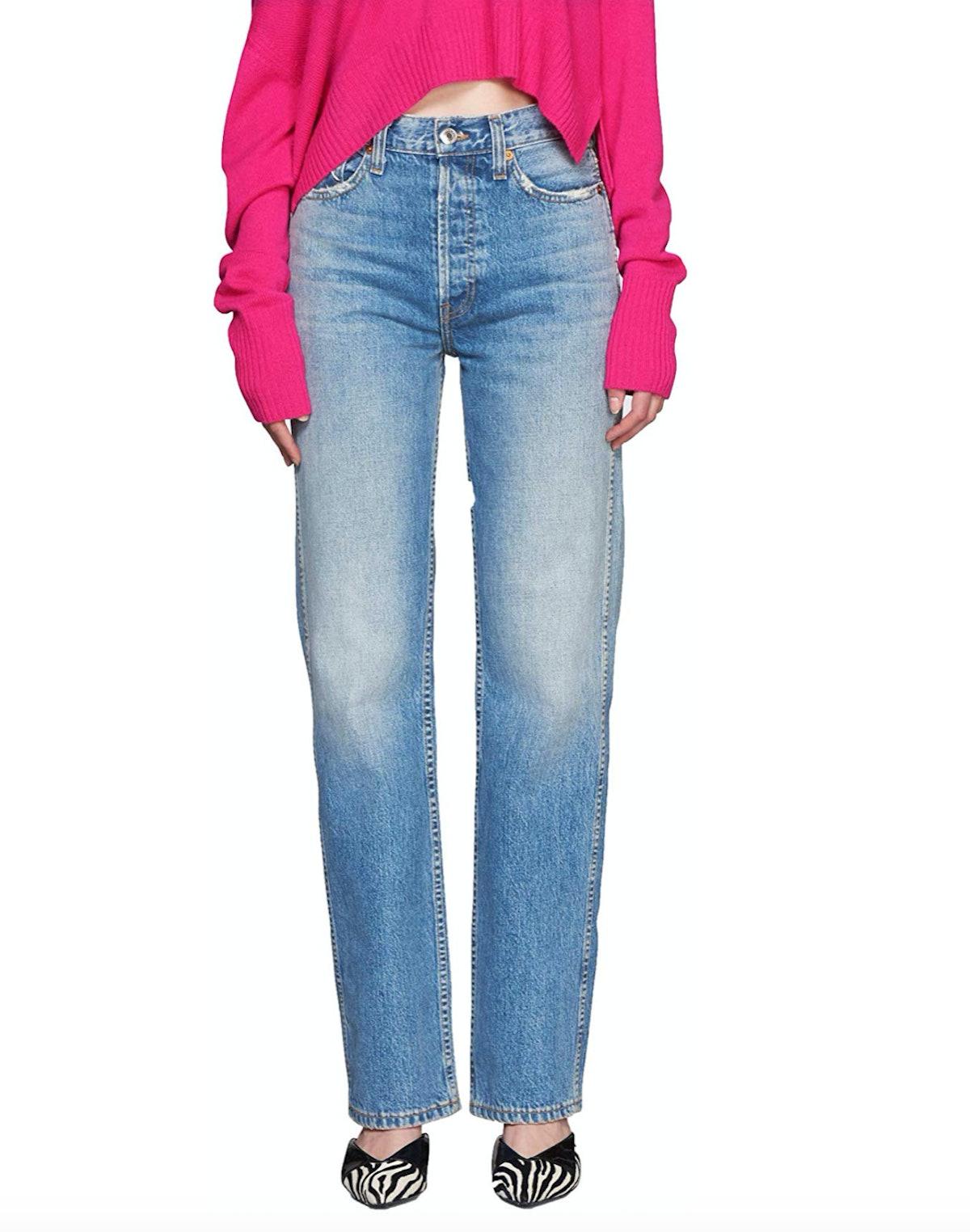 High-Rise Worn Blue Jean