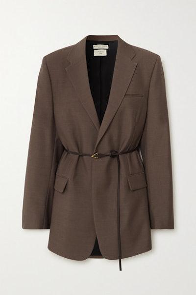 Oversized Belted Mélange Wool Blazer