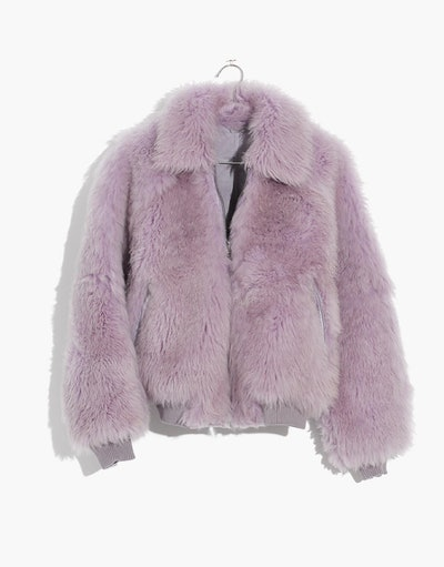 Mongolian Shearling Bomber Jacket in Violet Tint
