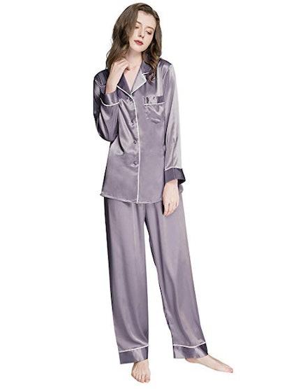 Silk Satin Pajamas Set Button Down Sleepwear Loungewear
