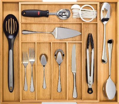 Dynamic Gear Bamboo Expandable Cutlery Drawer Organizer