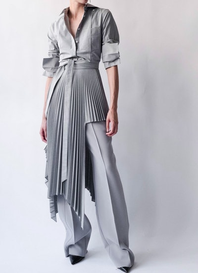 Grey Sliced Pleated Skirt