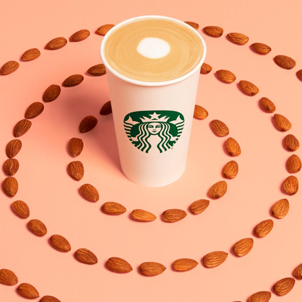 Starbucks' New Non-Dairy Beverages Include The Almondmilk Honey Flat White.