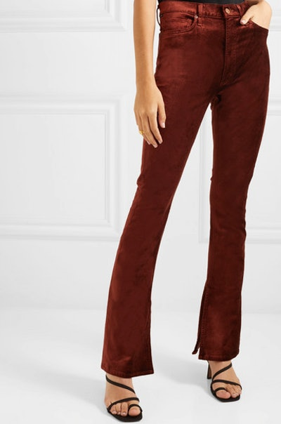 Georgia stretch-velvet bootcut pants