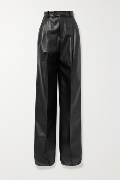 Pleated Faux Leather Straight-Leg Pants