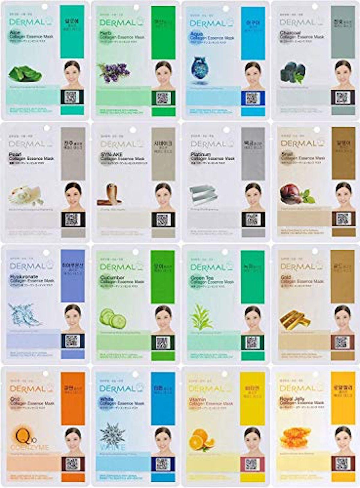 Dermal Korea Collagen Essence Full Face Facial Mask Sheet, 16 Combo Pack
