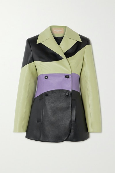 Colorblock Double-Breasted Blazer