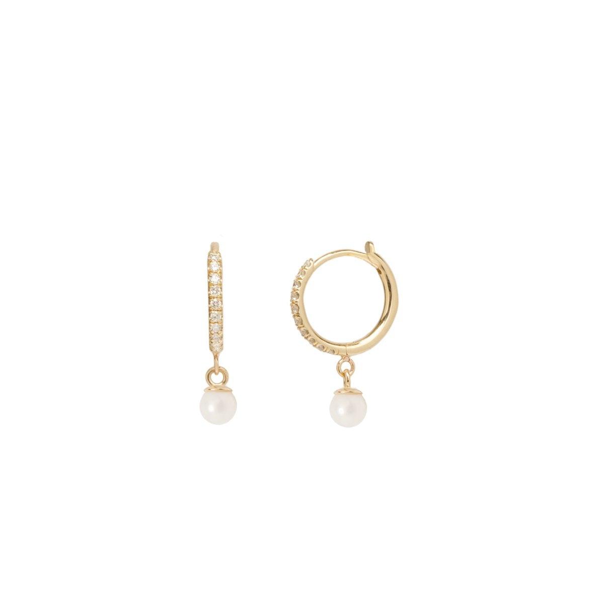 14K Dangling Pearl Pave Diamond Huggie Hoops