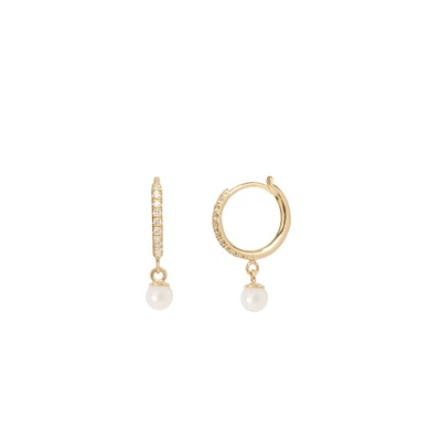 14K Dangling Pearl Pave Diamond Huggie Hoops