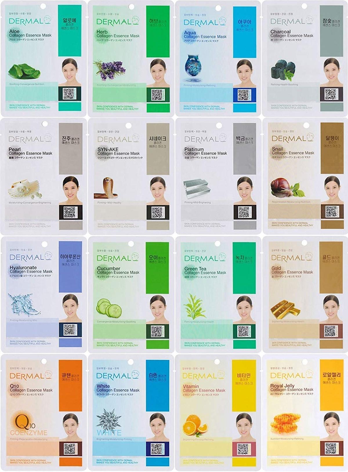 Dermal Korea Collagen Essence Full Face Facial Mask Sheet (16-Pack)