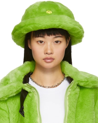 Green Faux-Fur Smile Bucket Hat
