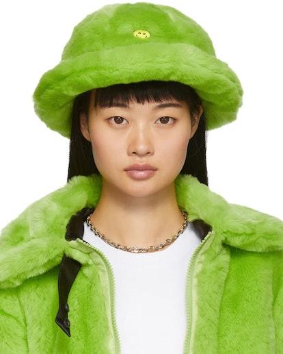 Green Faux-Fur Smile Bucket Hat