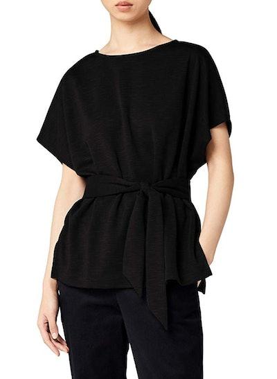 Meraki Women's Relaxed Fit Jersey Tie Front Top