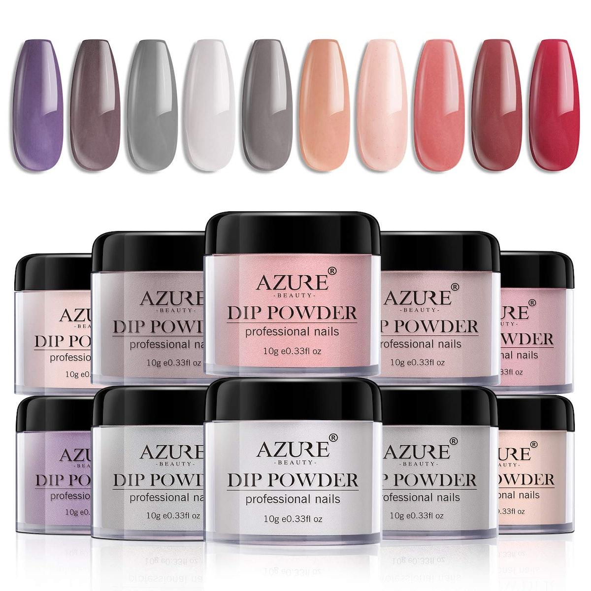 Azure Beauty Dip Powder Nails Color Set (10 Pieces)