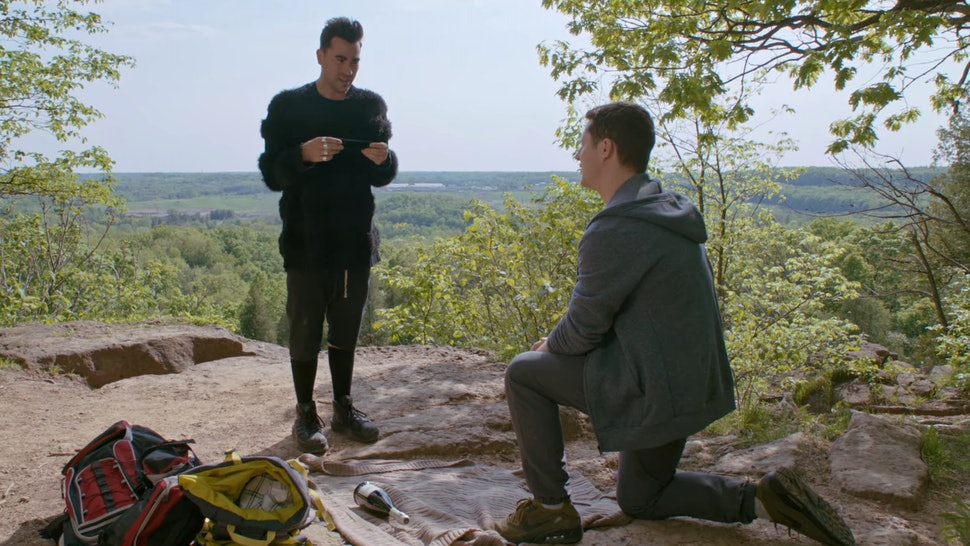 Dan Levy as David and Noah Reid as Patrick on Schitt's Creek