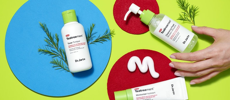 New Dr. Jart+ Teatreement collection's moisturizer, toner, and cleanser