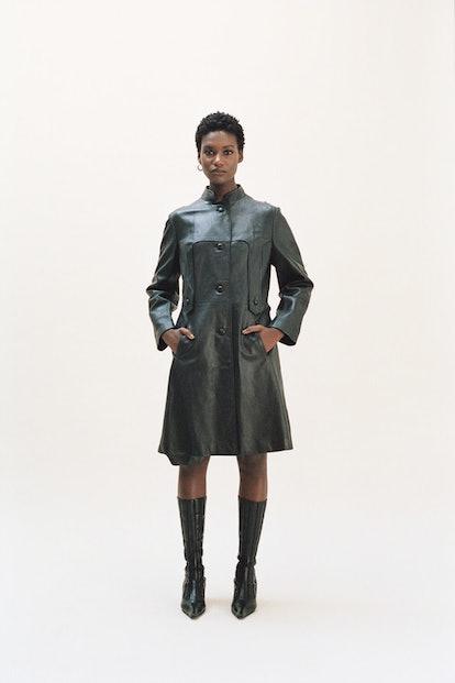 Vintage Black Leather Mandarin Collar Mid-Length Coat