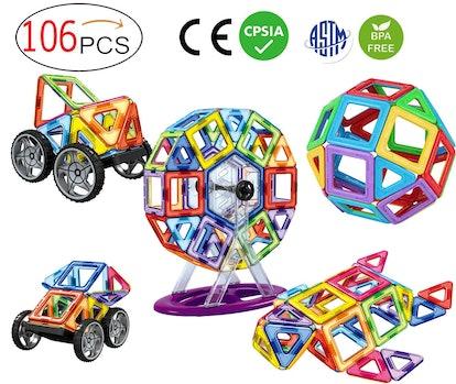 dreambuilderToy 106 PCS Magnetic Tiles Set