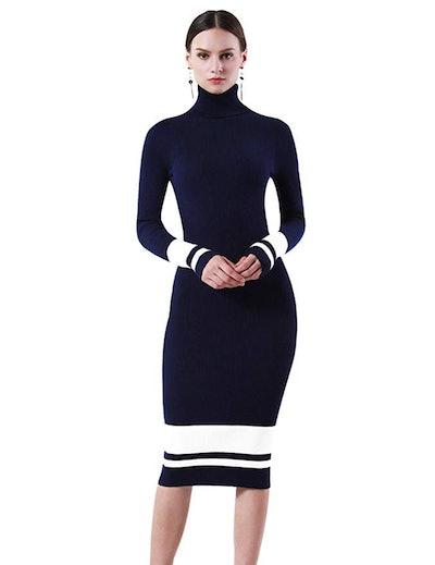 PrettyGuide Ribbed Knit Turtleneck Midi Dress
