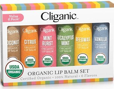 Cliganic USDA Organic Lip Balm Set (6-Pack)