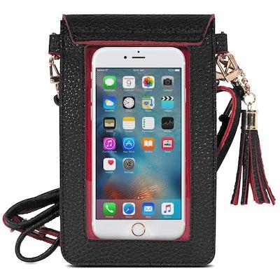 MoKo Cell Phone Bag, PU Leather Crossbody Bag Mini Phone Pouch