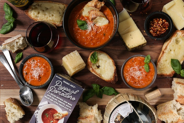 Trader Joe's Pappa Al Pomodoro soup goes great with cheesy garlic bread.