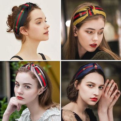 Amandir Bee Embroidered Knot Headbands (4-Pack)