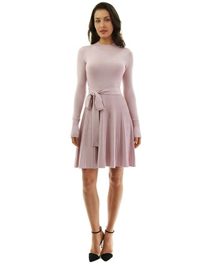 PattyBoutik Mock-Neck Fit And Flare Dress