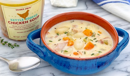 Trader Joe's creamy chicken soup goes great with Trader Joe's premade gnocchi.