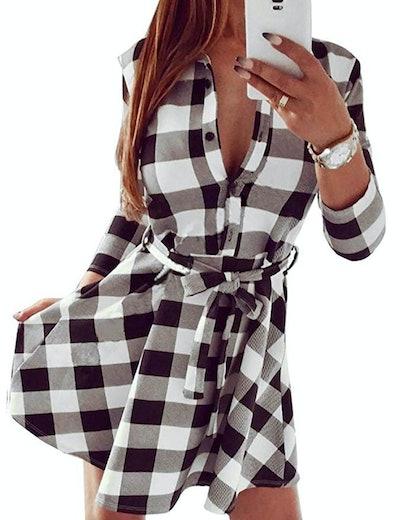 FANCYINN Plaid Casual Shirt Dress