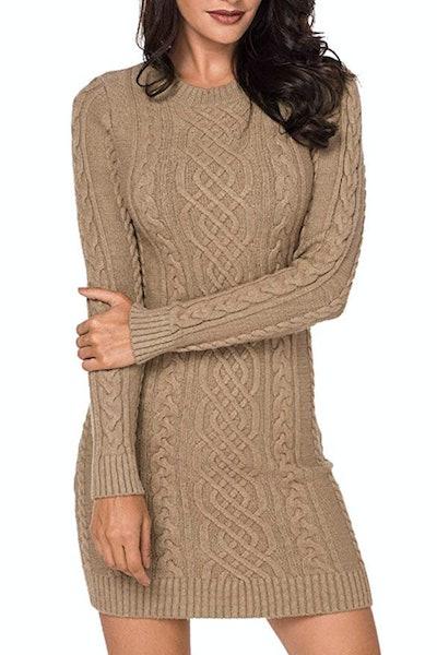LaSuiveur Slim-Fit Cable-Knit Long-Sleeve Dress