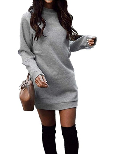 Xuan2Xuan3 Fleece Long Sweatshirt Dress