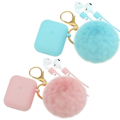CTYBB Silicone Airpods Case Cover with Fur Ball Keychain