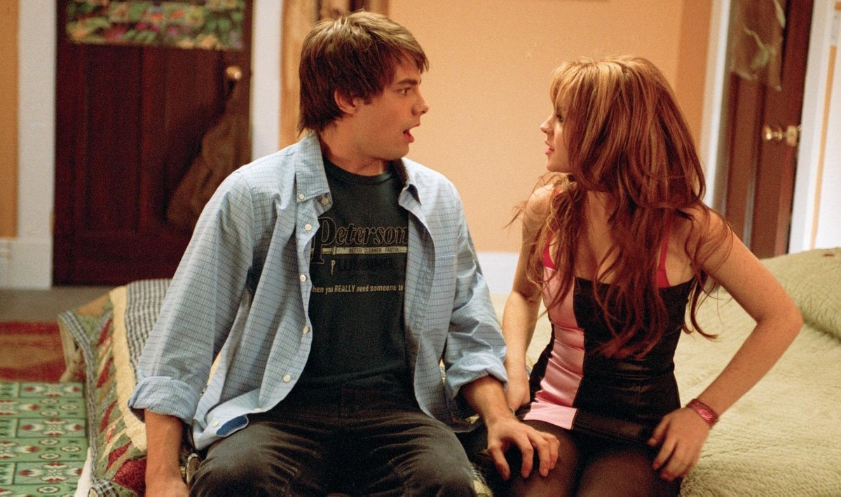 Cady Heron and Aaron Samuels in 'Mean Girls'