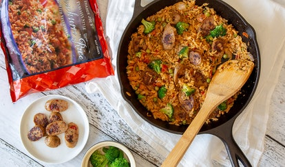 Trader Joe's chimichurri rice can be mixed with tomato soup for an easy, leveled-up dinner.