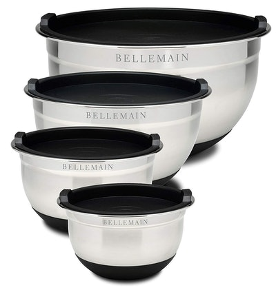 Top Rated Bellemain Stainless Steel Non-Slip Mixing Bowls with Lids (4 Pieces)