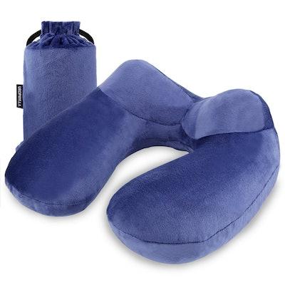 UROPHYLLA Inflatable Travel Pillow, Soft Velvet Inflatable Travel Neck Pillow