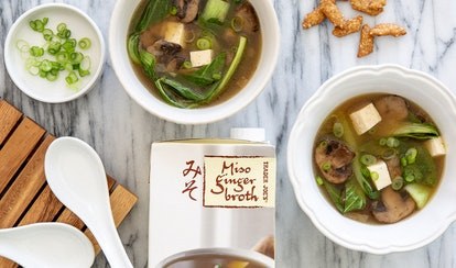 Adding tofu to Trader Joe's miso broth is an easy soup hack.