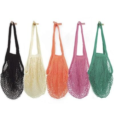 Hotshine Portable/Reusable/Washable Cotton Mesh String Organic Organizer Shopping Handbag (5-Pack)
