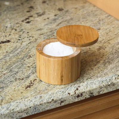 Home Basics Bamboo Swivel Salt Box with Magnetic Lid, Natural Honey