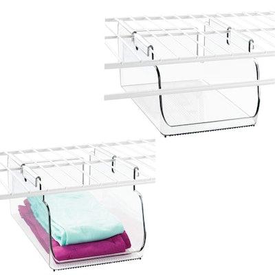 mDesign Plastic Hanging Closet Storage Organizer Tray (2-Pack)
