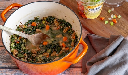 Mix Trader Joe's broth, sausage, and mirepoix for an easy homemade soup.