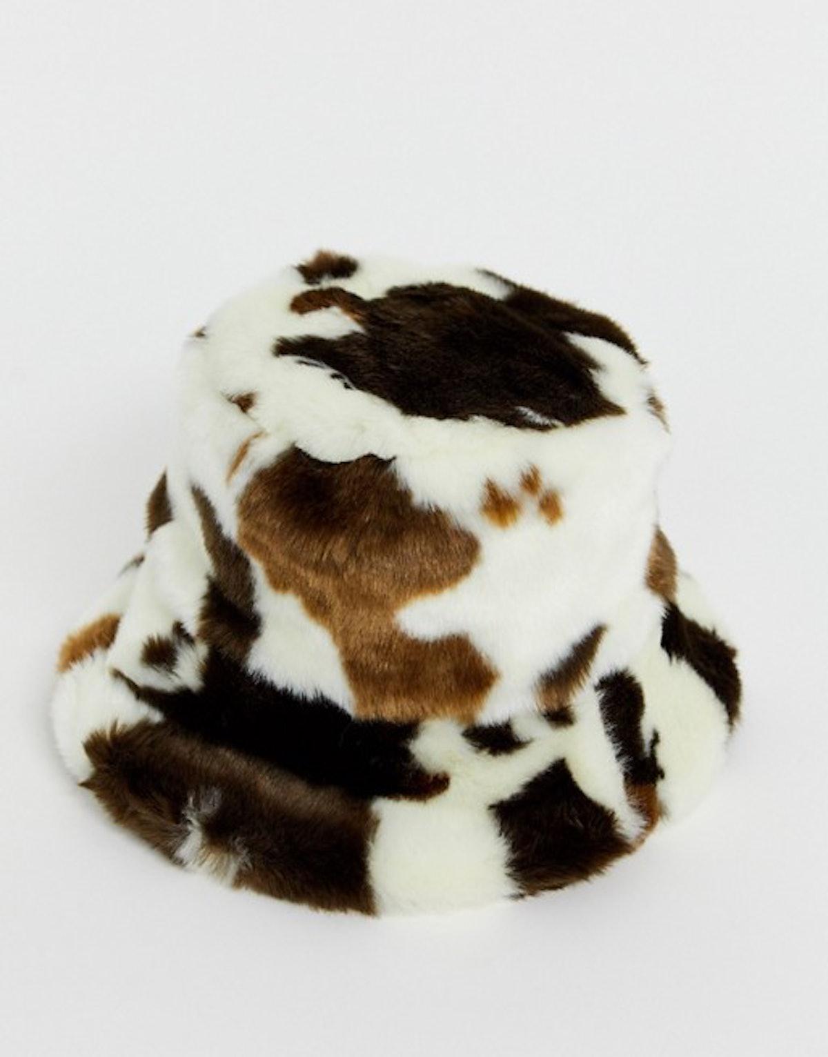 Faux Fur Bucket Hat In Cow Print