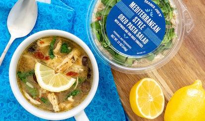 Easily turn Trader Joe's Mediterranean orzo salad into a delicious soup.