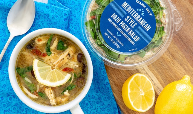 Easily turn Trader Joe's Mediterranean orzo salad into a delicious soup.