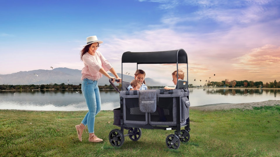 The WonderFold Wagon can hold up to four kids, making it ideal for large families.