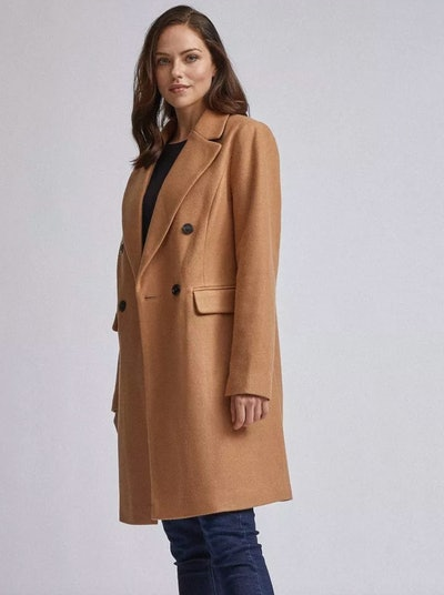 Camel Double Breasted Tailored Coat