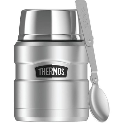 Thermos Stainless King Vacuum-Insulated Food Jar With Folding Spoon, 16 oz
