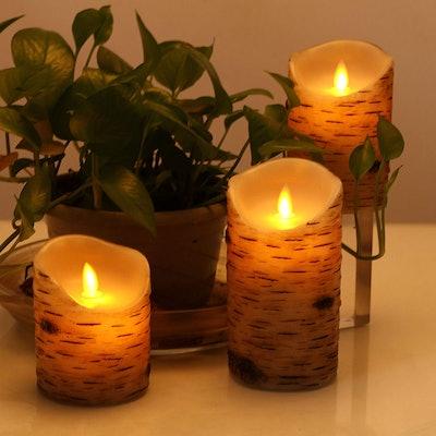 Comenzar Flickering Birch Candles (3-Piece Set)